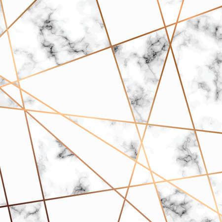 Vector marmeren textuurontwerp met gouden geometrische lijnen, zwart-witte marmering oppervlakte, moderne luxueuze achtergrond, vectorillustratie