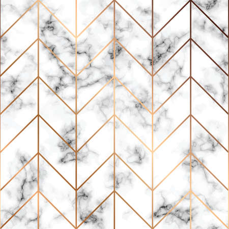 Vector marble texture, seamless pattern design with golden geometric lines, black and white marbling surface, modern luxurious background, vector illustration