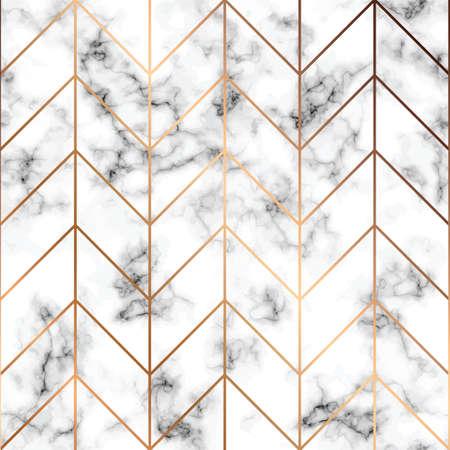 Texture marbre vecteur, modélisme sans soudure avec lignes géométriques dorées, surface marbrée noir et blanc, fond luxueux moderne, illustration vectorielle Vecteurs