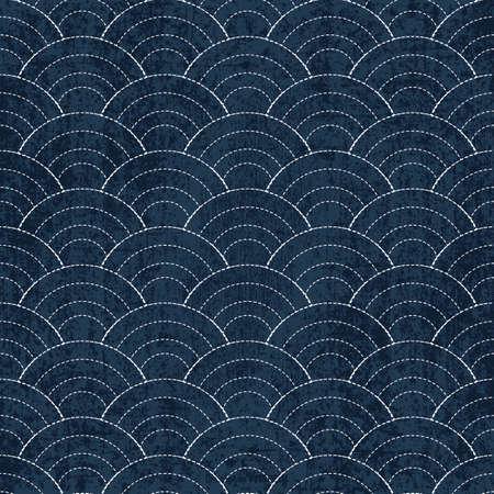 Sashiko seamless indigo dye pattern with traditional white Japanese embroidery, vector illustration Illustration