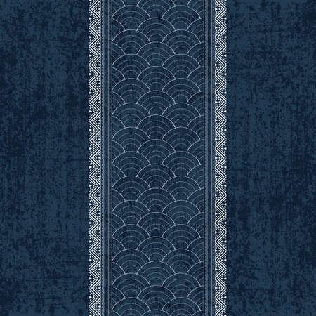 伝統的な白い日本の刺繍で刺し子インディゴ染料パターン、ベクトルイラスト  イラスト・ベクター素材