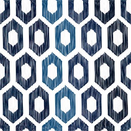 刺し子伝統的な白の日本の刺繍とシームレスなインディゴ染料パターン、ベクトルイラスト 写真素材 - 89812439