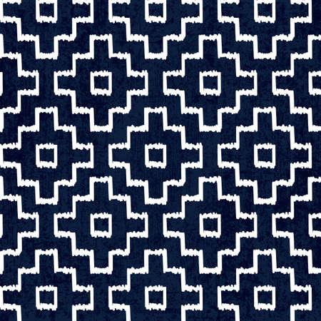 刺し子伝統的な白の日本の刺繍とシームレスなインディゴ染料パターン、ベクトルイラスト 写真素材 - 89826765