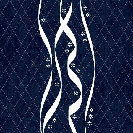 白い伝統的な日本刺繍、ベクトル図と刺し子藍染めパターン