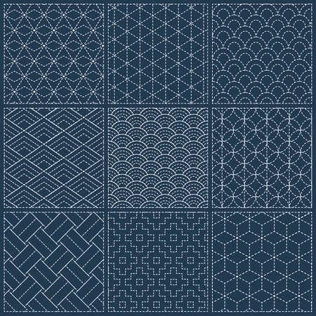 白い伝統的な日本刺繍、ベクトル図と刺し子シームレスな藍染めパターン 写真素材 - 89826773