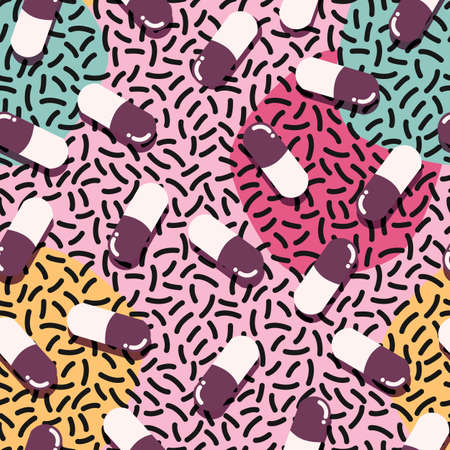 Pills and capsules seamless pattern, pop modern design, bold colors and geometry, vector illustration Illustration