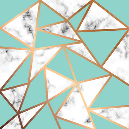 Vector marble texture design with golden geometric lines, black and white marbling surface, modern luxurious background, vector illustration
