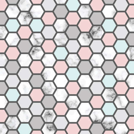 Vector marble texture design with honeycomb pattern, black and white marbling surface, modern luxurious background, vector illustration