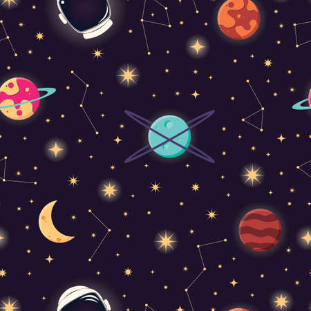 Universe with planets, stars and astronaut helmet seamless pattern, cosmos starry night sky, vector illustration Vectores