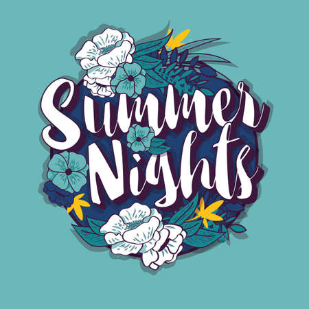 Summer nights typography banner round design in tropical flower frame, vector illustration
