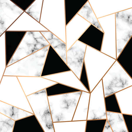 Vector marble texture design with golden geometric lines, black and white marbling surface, modern luxurious background, vector illustration 版權商用圖片 - 102156691
