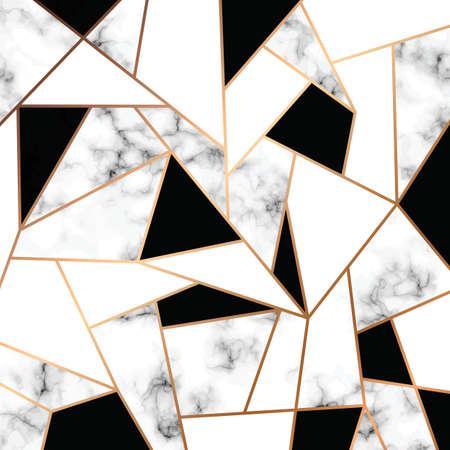 Vector marmeren textuur ontwerp met gouden geometrische lijnen, zwart-wit marmeren oppervlak, moderne luxe achtergrond, vectorillustratie