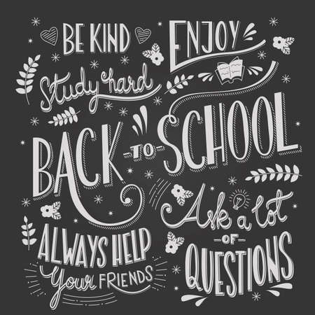 Back to school typography drawing on blackboard with motivational messages, hand lettering, vector illustration Stock Illustratie