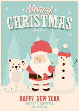 Merry Christmas card with Santa Claus, snowman and reindeer, winter landscape, vector illustration