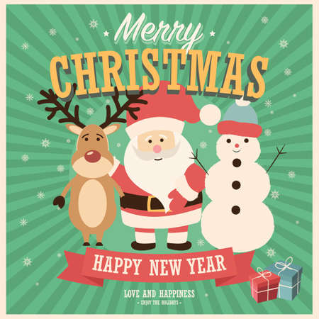 Merry Christmas card with Santa Claus, snowman and reindeer with gift boxes, vector illustration Stock Illustratie