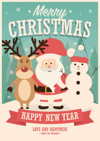 Merry Christmas card with Santa Claus, reindeer and snowman on winter background, vector illustration