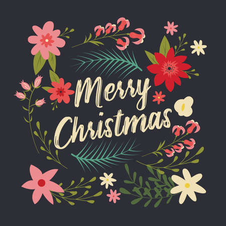 Typographic Merry Christmas card with floral decorative elements, vector illustration Stock Illustratie
