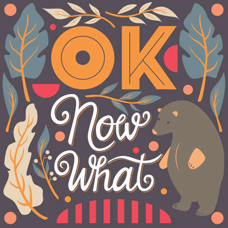 OK, now what, hand lettering typography modern poster design, vector illustration