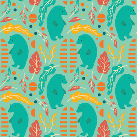 Seamless pattern design with hand drawn flowers, floral elements and bear Stock Illustratie