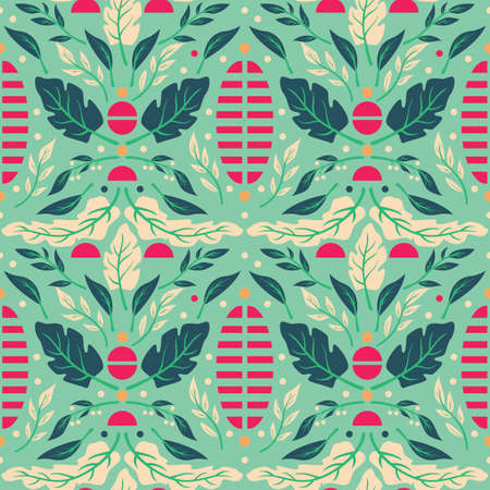 Seamless pattern design with hand drawn flowers and floral elements