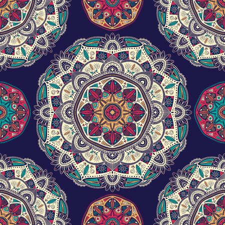 Seamless pattern with ornamental floral ethnic mandalas, vector illustration  イラスト・ベクター素材