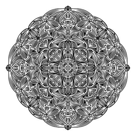 Black and white floral ethnic mandala, on white background, vector illustration  イラスト・ベクター素材