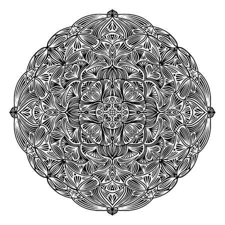 Black and white floral ethnic mandala, on white background, vector illustration Illustration
