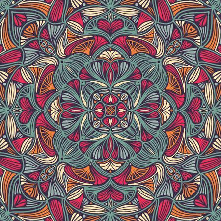 Colorful ornamental floral ethnic mandala, vector illustration Illustration