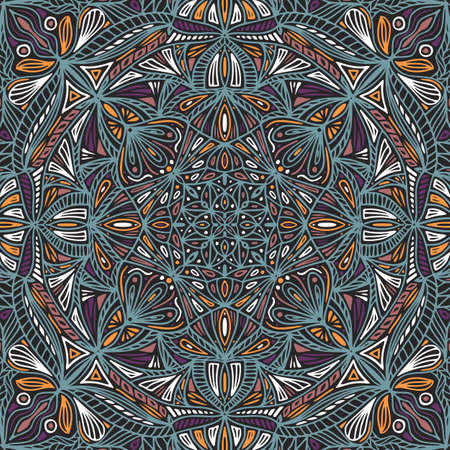 Colorful ornamental floral ethnic mandala, vector illustration  イラスト・ベクター素材