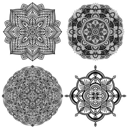 Collection of four black and white floral ethnic mandalas, on white background, vector illustration