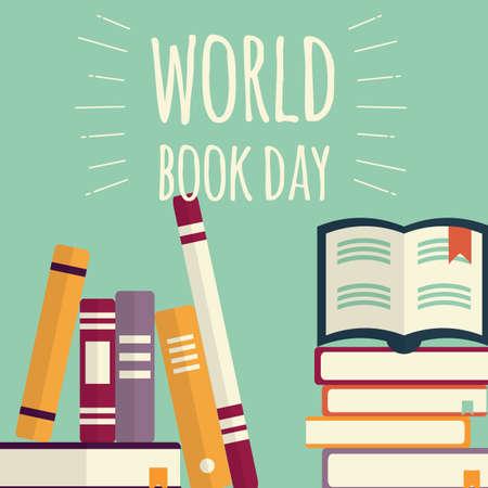 World book day, stacks of books on mint Stock Illustratie