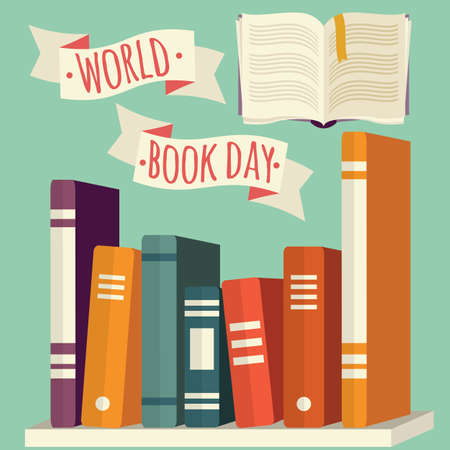 World book day, books on shelf with festive banner, vector illustration