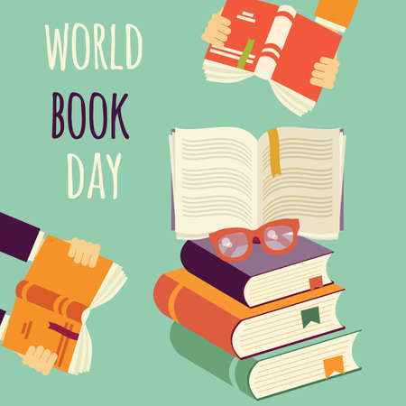 World book day, stack of books with hands and glasses, vector illustration