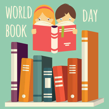 World book day, girl and boy reading with stack of books on a shelf, vector illustration