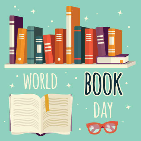 World book day, books on shelf and open book with glasses, vector illustration
