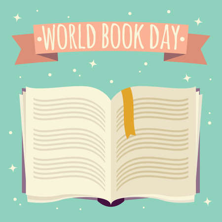 World book day, open book with festive banner, vector illustration