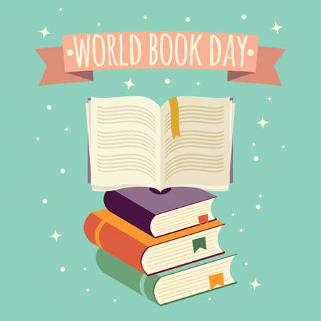World book day, open book with festive banner and stack of books, vector illustration