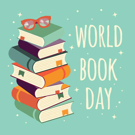 World book day, stack of books with glasses on mint