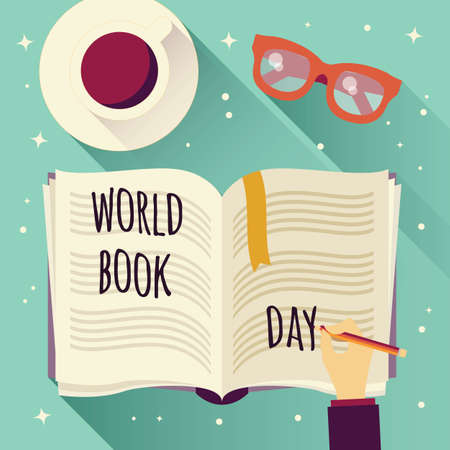 World book day, open book with a hand writing, coffee cup and glasses, vector illustration