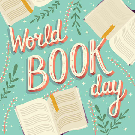 World book day, hand lettering typography modern poster design with open books, vector illustration Stock Illustratie