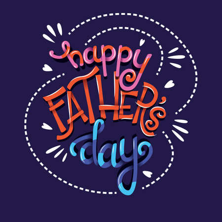 Happy Fathers Day, hand lettering typography modern poster design, vector illustration