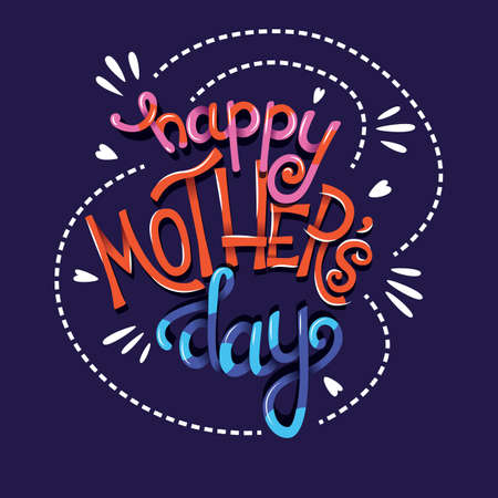 Happy Mothers Day, hand lettering typography modern poster design, vector illustration Stock Illustratie
