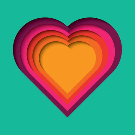 Paper cut out  with 3d effect, heart shape in vibrant colors Stock Illustratie