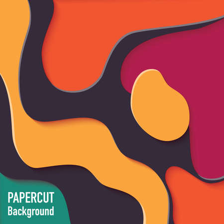 Paper cut out background with 3d effect, carving art, vector illustration