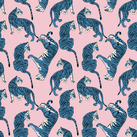 Hand drawn tiger seamless pattern, big cats in different position 向量圖像