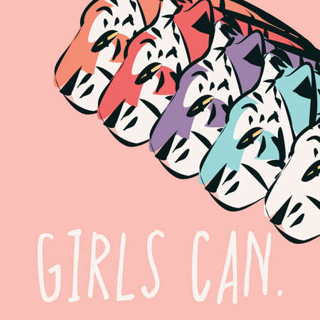 Hand drawn tigers with feminist phrase GIRLS CAN, girl power and feminism concept