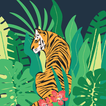 hand drawn tiger with exotic tropical leaves, flat vector illustration