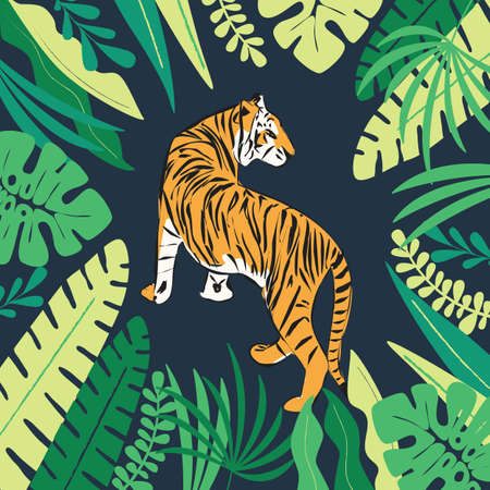 Hand drawn tiger with exotic tropical leaves 向量圖像