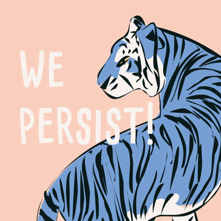 Hand drawn tiger with feminist phrase and message, girl power and feminism concept Иллюстрация