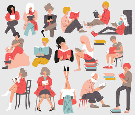 Group of people reading books. Men and women, young and old, sitting, standning and laying down and reading a book. Isolated, flat vector illustration